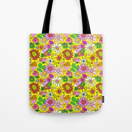 60's Lovers Floral in Sunshine Yellow Tote Bag
