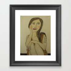 Girl with Dragon Tatu Framed Art Print