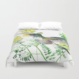 FLying HUmmingbird and Yellow Flowers Duvet Cover