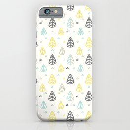 Geometrical gray yellow blue modern leaves iPhone Case