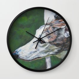 Greyhound dog art portrait from an original painting by L.A.Shepard Wall Clock