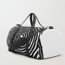 Minimalist Mid Century Abstract Ink Line Spiral Hypnotic Circle Duffle Bag