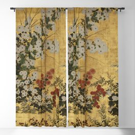 White Red Chrysanthemums Floral Japanese Gold Screen Blackout Curtain