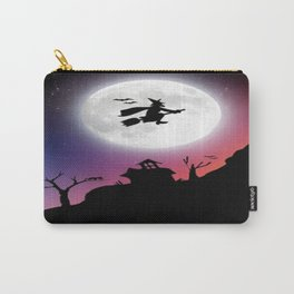 Purple Halloween Witch Silhouette Carry-All Pouch