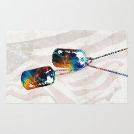Military Art Dog Tags - Honor - By Sharon Cummings Rug