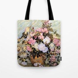 Vincent Van Gogh Vase With Roses Tote Bag