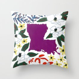 Louisiana + Florals Throw Pillow