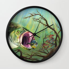 Large Mouth Bass and Clueless Blue Gill Fish Wall Clock