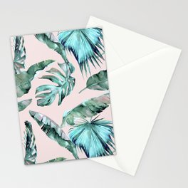 Tropical Palm Leaves Turquoise Green Coral Pink Stationery Cards