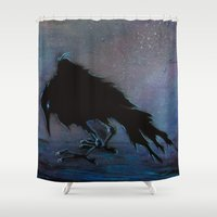 raven Shower Curtains featuring Raven by Christine's heART
