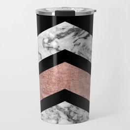 Modern rose gold black white geometric marble Travel Mug