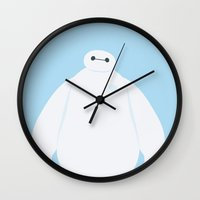 baymax Wall Clocks featuring Baymax by carolam