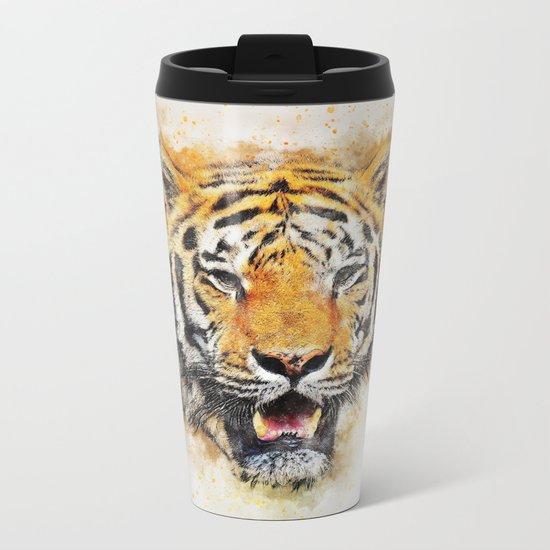 Tiger Abstract Metal Travel Mug
