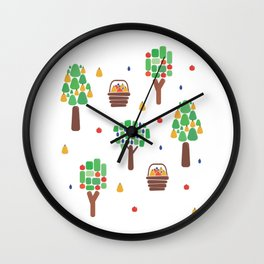 Orchard with autumn fruit Wall Clock