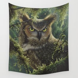 Great Horned Owl - Watching and Waiting Wall Tapestry