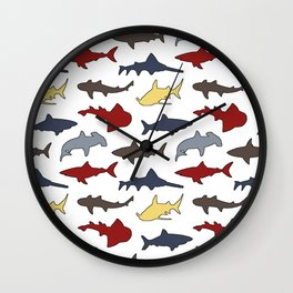 Sharks in Nautical Colors Wall Clock