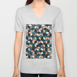Copper, Marble and Concrete Cubes with Blue Unisex V-Neck