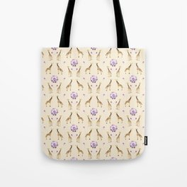 Giraffes And Flowers Tote Bag