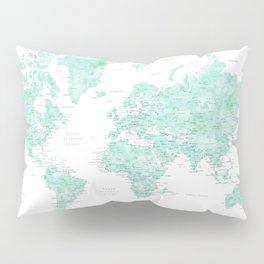 "Light mint watercolor world map, detailed, ""Desie"" Pillow Sham"