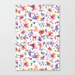 watery hibiscus flowers - Multicolored tropical pattern Canvas Print