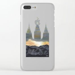 Salt Lake Temple Mountain Dawn Silhouette Clear iPhone Case