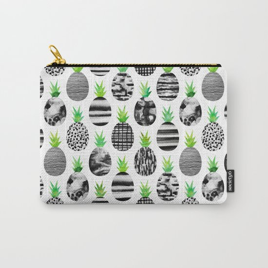 Black & White Pineapples Carry-All Pouch