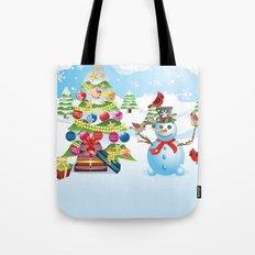 Snowman with Christmas Tree Tote Bag