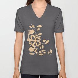 Tropical Flower - Coral Silhouette Over Desert Rose Cream Unisex V-Neck