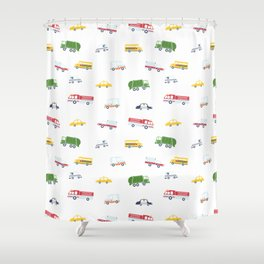 Cars and Trucks Collection Shower Curtain