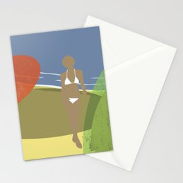 Tanned girl on a solitary beach Stationery Cards