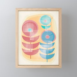 Three Flowers in Retro Style Framed Mini Art Print