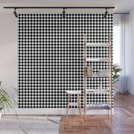 Classic Black & White Small Diamond Checker Board Pattern Wall Mural