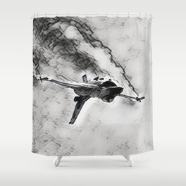 F-16 Inverted Dive In Washed Out Shower Curtain