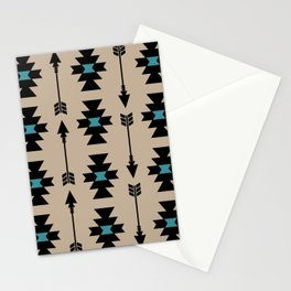 Southwestern Arrow Pattern 253 Black Turquoise and Beige Stationery Cards