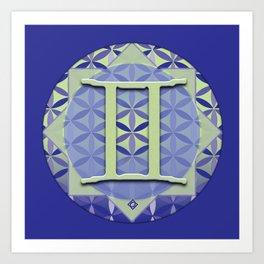 GEMINI Flower of Life Astrology Design Art Print
