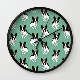 Cute double hooded pied Frenchie is chilling at home Wall Clock