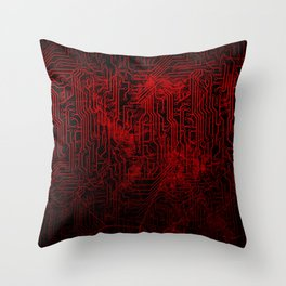 Red Cybernetic Circuit Board Crackle Grunge Texture Throw Pillow