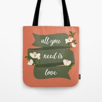 all you need is love Tote Bags featuring All you need is love by Juliana RW