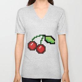 Pixel art cherries Unisex V-Neck