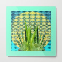 MODERN ALOE VERA SUCCULENT OPTICAL ART Metal Print