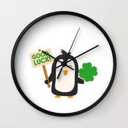 Good Luck Penguin Wall Clock