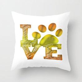 LOVE pawprint Throw Pillow