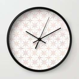 Golden-pink pattern on white. Wall Clock