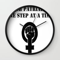 patriarchy Wall Clocks featuring Smash Patriarchy  by Faloulah