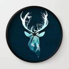 Deer Blue Winter Wall Clock