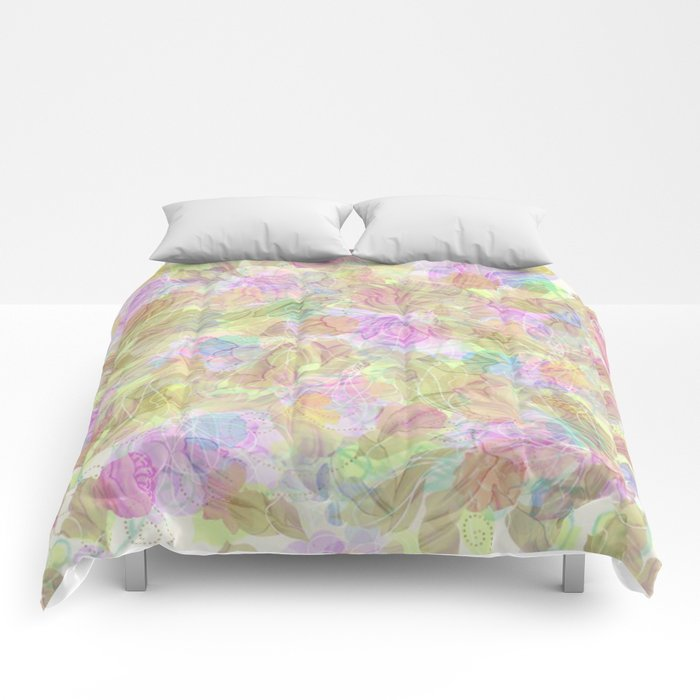 Soft Pastel Mixed Floral Abstract Comforters