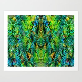 Mirrored Peacock Feather Design Art Print