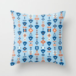 Aztec Tribal Blue Throw Pillow