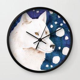 White wolf fairy tale Wall Clock