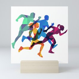 Colored silhouettes runners Mini Art Print